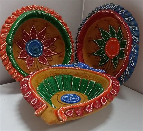 Handmade Decorative Diyas - large clay diyas fancy handmade clay diwali diya