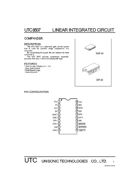 linear integrated circuit and its application utc8507 519132 pdf datasheet ic on line