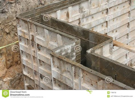 basement concrete forms wall forms molds for concrete stock photography image