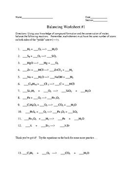 balancing  chemical equations practice   fred ende tpt