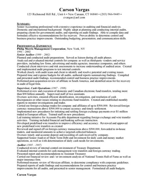 Auditor Resume Exles by Senior Auditor Free Resumes