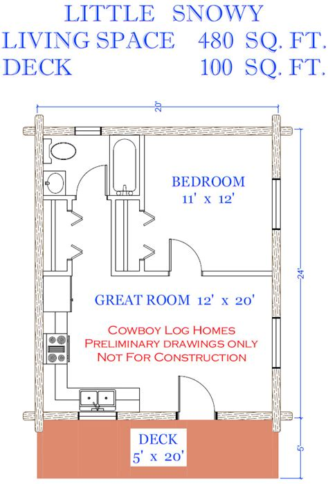 480 square feet little snowy plan 480 sq ft cowboy log homes
