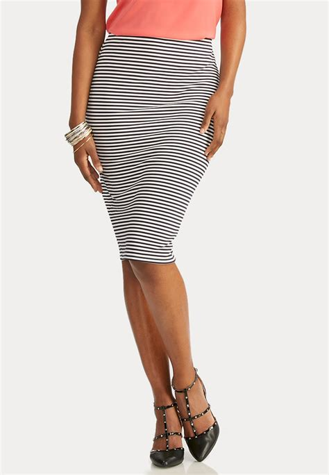 nautical striped midi skirt below the knee cato fashions