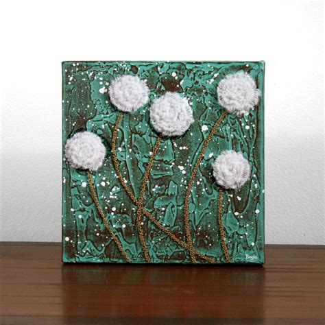 rustic flower painting textured acrylic  canvas art