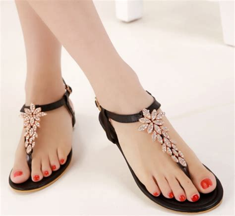 Beautiful Sandals For The by Beautiful Black Rhinestone Design Beaded Flat Sandals On