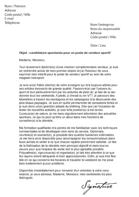 Lettre De Motivation Gratuite Vendeuse Magasin De Sport Lettre De Motivation Intersport Vendeur Mod 232 Le De Lettre