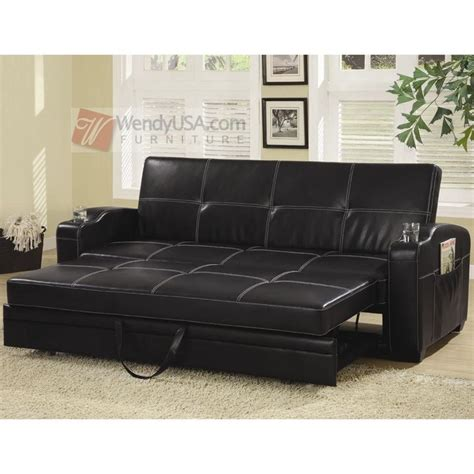 leather storage sofa black faux leather storage sofa bed futon sleeper with cup