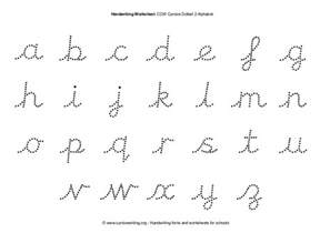 ccw cursive dotted 2 alphabet