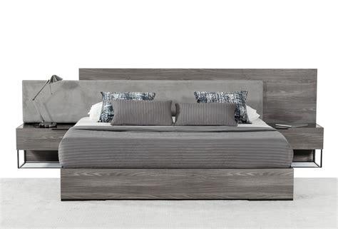 nova domus enzo italian modern grey oak fabric bed  nightstands