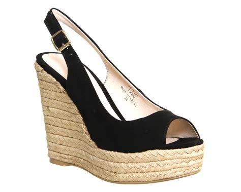 high heeled wedges office palm slingback espadrille wedges black suede high