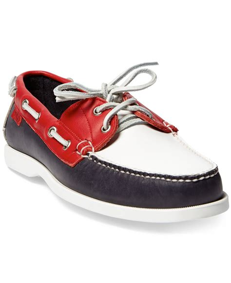 white and blue polo boat shoes polo ralph lauren men s team usa ceremony boat shoes in