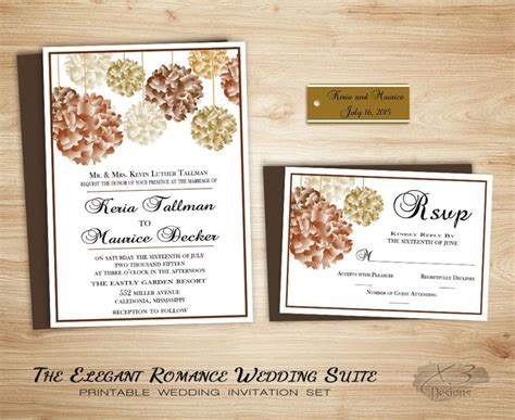 fall floral country wedding invitation suite printable