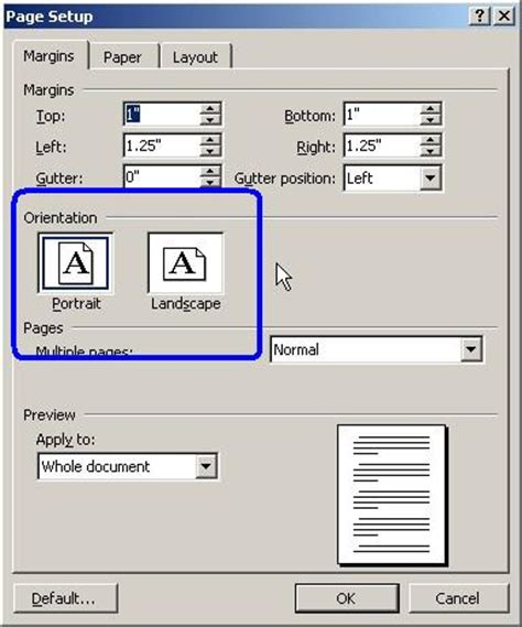 landscape layout in word 2003 how can i print sideways in microsoft word for windows