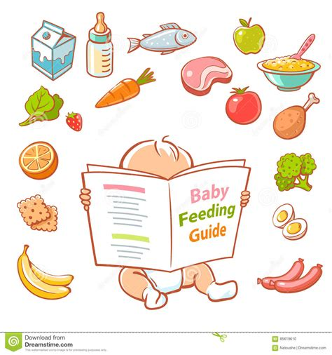 the healthy baby guidebook a guide to health awareness food education for you and your baby ideal for ages newborn 12 months books baby reading food guide stock vector image 85619610