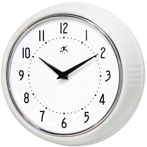 white kitchen wall clocks the retro white wall clock by infinity instruments