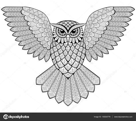 imagenes en blanco y negro de buhos buho volando en estilo zentangle p 225 gina para adultos
