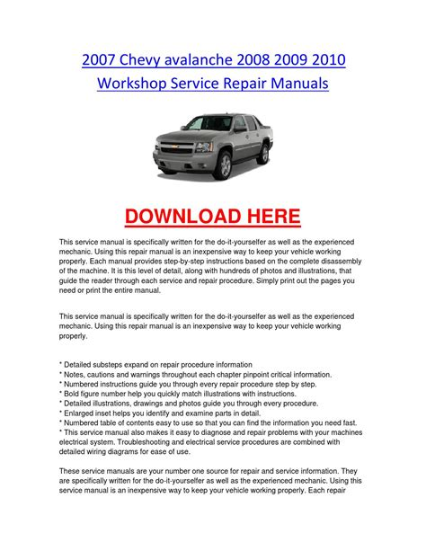 automotive repair manual 2011 chevrolet avalanche auto manual 2007 chevy avalanche 2008 2009 2010 workshop service repair manuals by chevroletservice issuu
