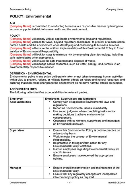 environmental statement template environmental policy template digital documents direct