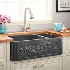 Blue Farmhouse Sink 33 quot floral 70 30 offset bowl polished granite farmhouse sink blue gray kitchen