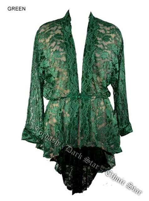 Lace Jacket Green green lace duster jacket w frog fastening