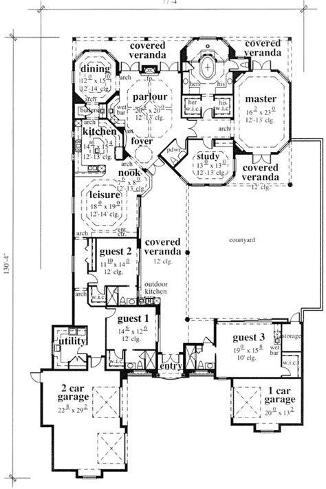mediterranean courtyard house plan 33501eb 1st floor