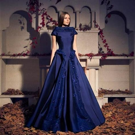 Handmade Prom Dress - cheap blue evening dresses ruffles pleats applique