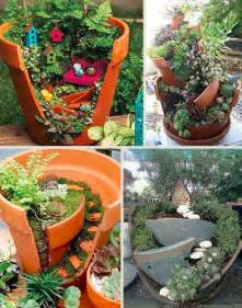 beyond fairy gardens diy cracked flower pot landscapes