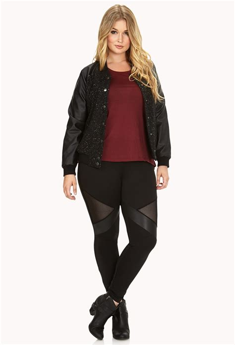 Legging Mesh Best Quality 13 lyst forever 21 daring faux leather mesh in black