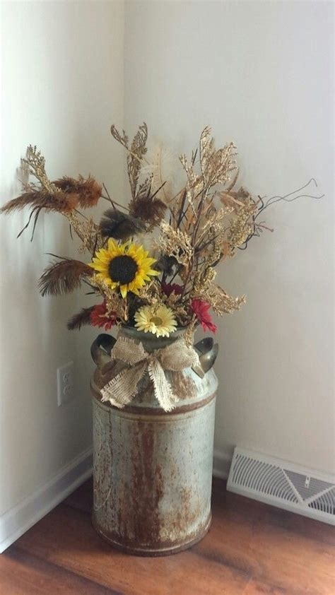 christmas milk can ideas pinterest country rustic decor milk can fall flowers and burlap