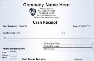download cash receipt template in excel and word format