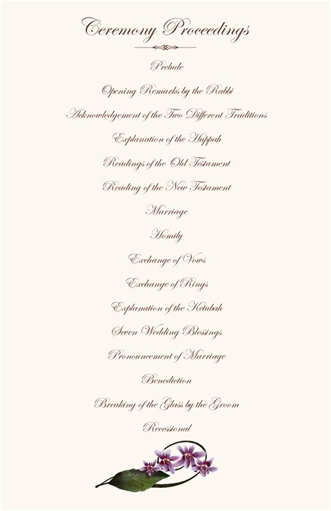 one page wedding program template orchid wedding program exles wedding program wording