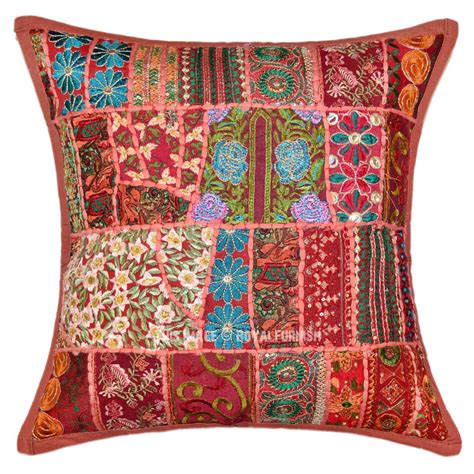 Patchwork Pillow - brown unique multi embroidered patchwork accent pillow