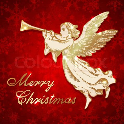 golden christmas angel blows   trumpet hand drawn vector greeting card  vintage style