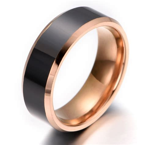 comfort rings mens tungsten ring comfort fit rose gold black kr2267