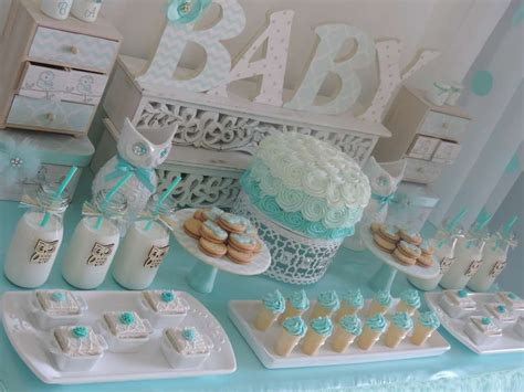 how to make baby shower decorations at home welcome home owl baby shower ideas ombre aqua baby