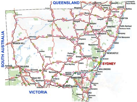 printable australian road maps new south wales australia map