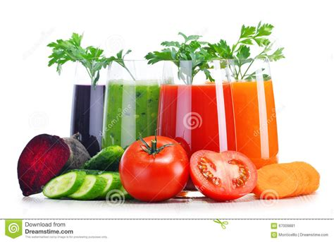 Vegetable Juice Detox Diet by Glasses With Fresh Vegetable Juices On White Stock Photo