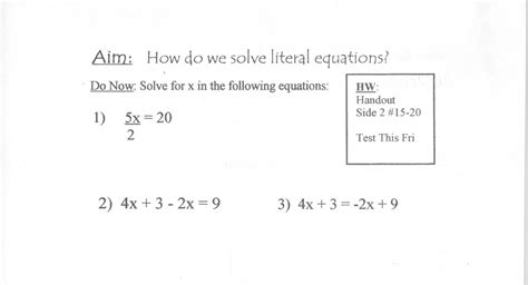 Literal Equations Word Problems Worksheet by Mr Napoli S Algebra Aim What Are Literal Equations And