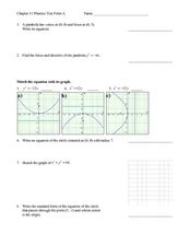 conic sections test graphs and equations of conic sections practice test