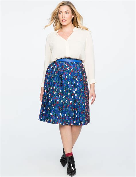 Pleated Floral Midi Skirt mixed floral pleated midi skirt s plus size skirts