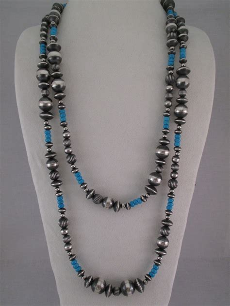 metal bead necklace oxidized sterling silver turquoise necklace navajo jewelry
