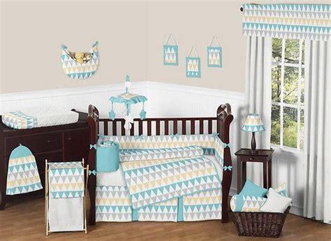 Modern Turquoise White Gray Yellow Gender Neutral Baby Boy Modern Neutral Crib Bedding