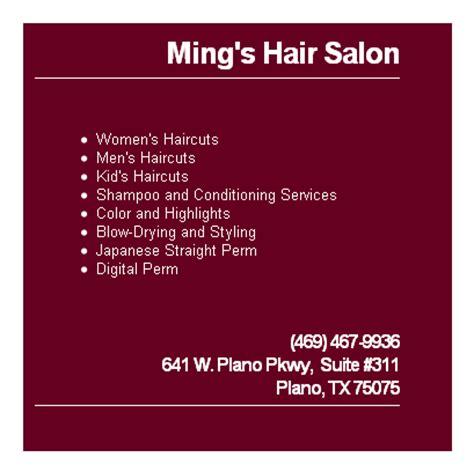 haircut coupons plano texas ming s hair salon plano haircut plano tx 75075 469