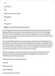 Resignation Letter Finance Manager Sle Resignation Letter Template 14 Free Documents In Word Pdf