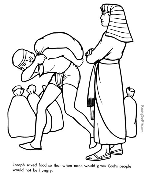 printable bible coloring pages joseph joseph supervises the gathering and distribution of grain