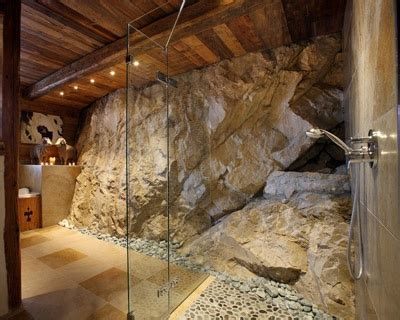 good hiking spot basement bathroom exposed rugged rock wall architecture barn house design house design home