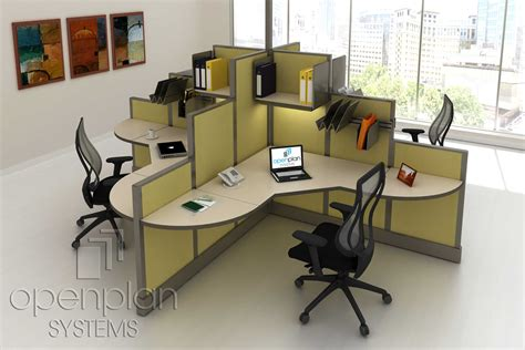 four person office desk modern clover shaped office workstation for 4 people