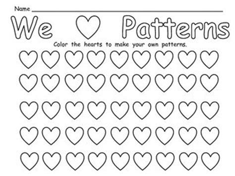 pattern day kindergarten free valentine s day patterns practice page for