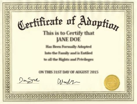 child adoption certificate template adoptions attorney grossman
