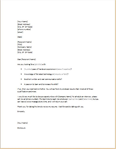 exle of unsolicited cover letter 11 professional and business cover letter templates